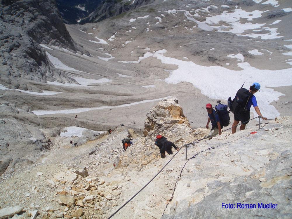 4. Tag: Seilgesicherter Abstieg vom Birkkarsattel